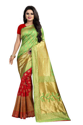 Parrot and Red Color Banarasi Silk Rich Pallu Saree - BBC119B