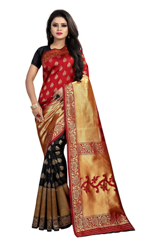 Maroon and Black Color Banarasi Silk Rich Pallu Saree - BBC119C