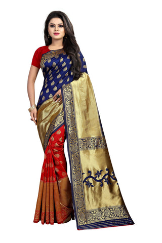 Blue and Red Color Banarasi Silk Rich Pallu Saree - BBC119E