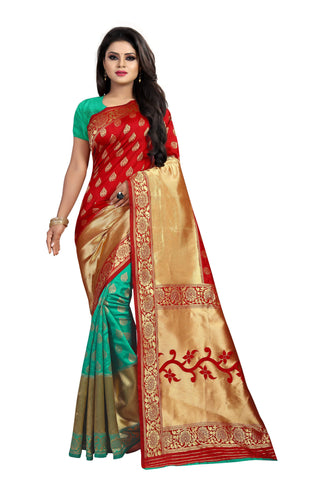 Sea Green and Red Color Banarasi Silk Rich Pallu Saree - BBC119F