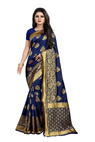 Navy Blue Color Banarasi Silk Saree - BBC120C