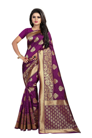 Purple Color Banarasi Silk Saree - BBC120D