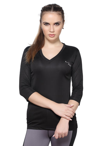 Black Color Polyester Women's Gym Wear TShirt - BBTTQVNBK0104