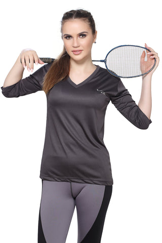 Grey Color Polyester Women's Gym Wear TShirt - BBTTQVNGY0104