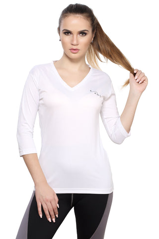 White Color Polyester Women's Gym Wear TShirt - BBTTQVNW0104