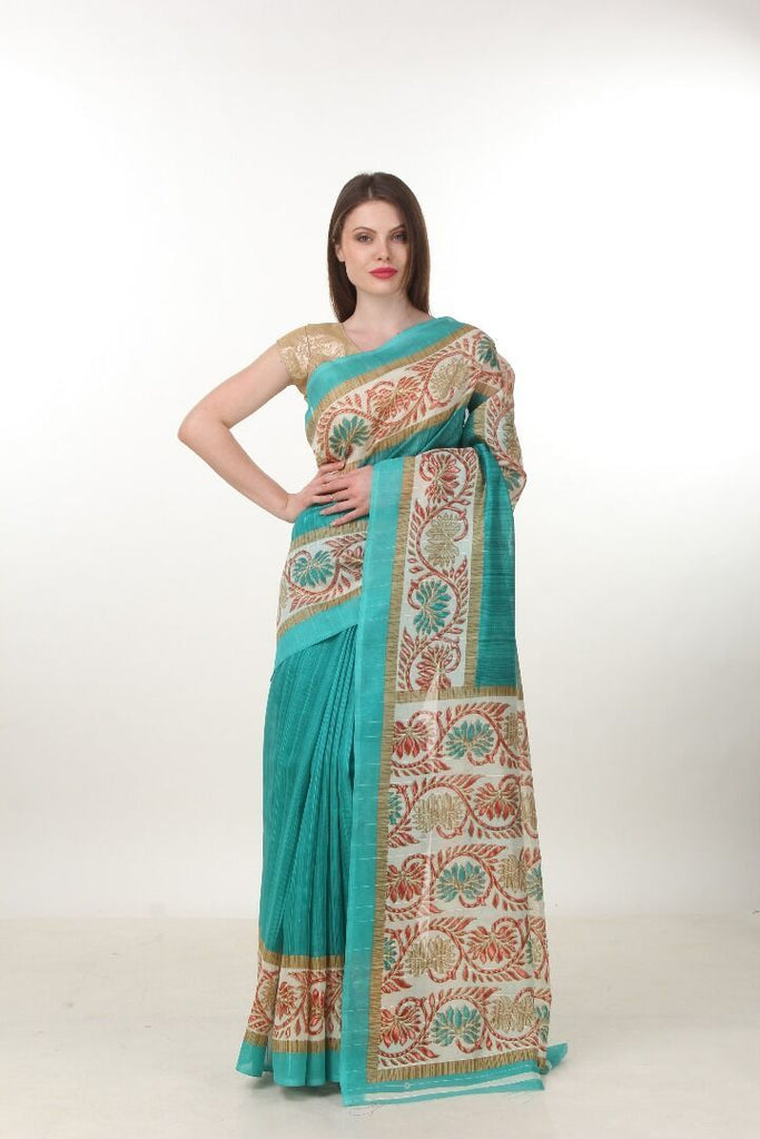 Green Color Poly Cotton Printed Saree