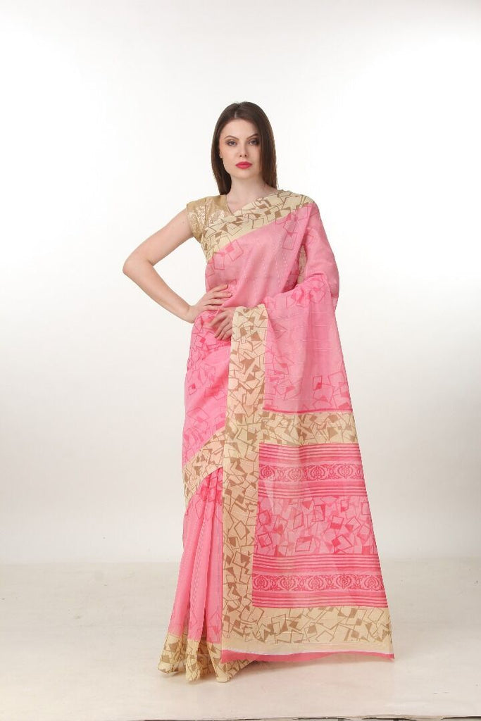 Pink Color Poly Cotton Printed Saree