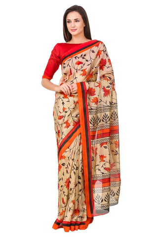Multi Color Poly Cotton Printed Saree - BCS-18