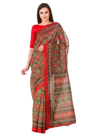 Multi Color Poly Cotton Printed Saree - BCS-21