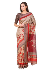 Brown Color Poly Cotton Printed Saree