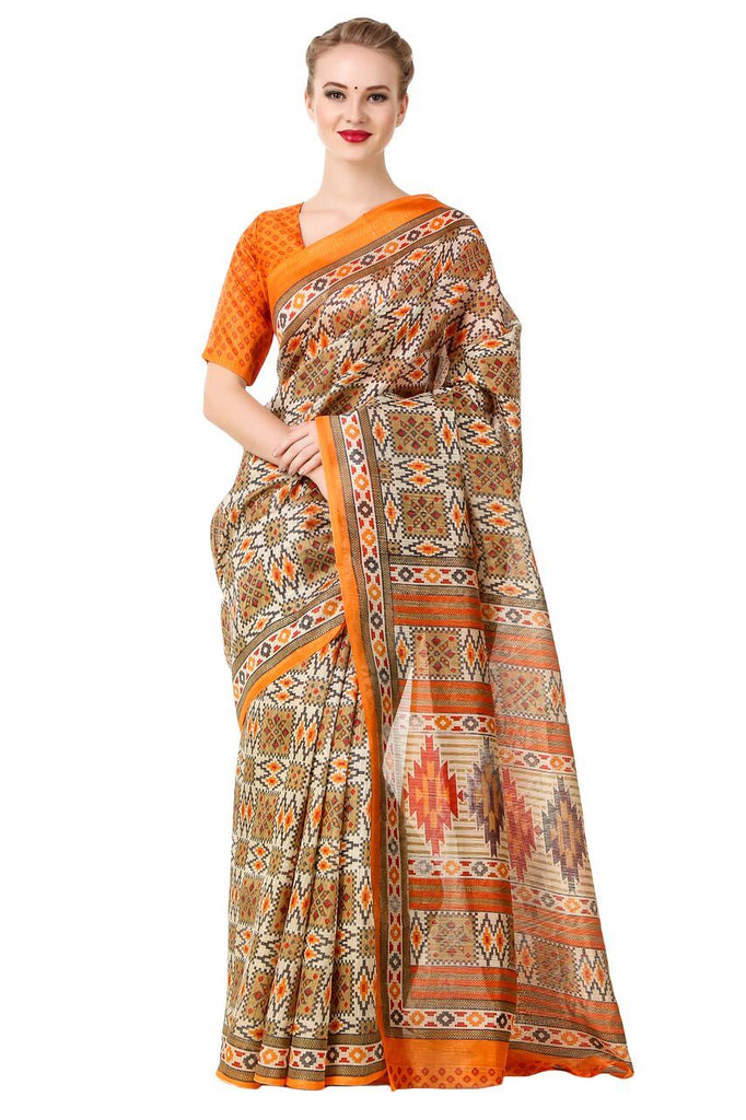 Multi Color Poly Cotton Printed Saree