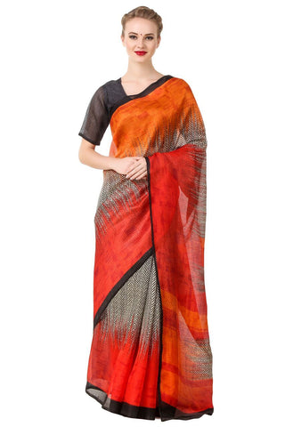 Red and Orange Color Poly Cotton Printed Saree - BCS-26