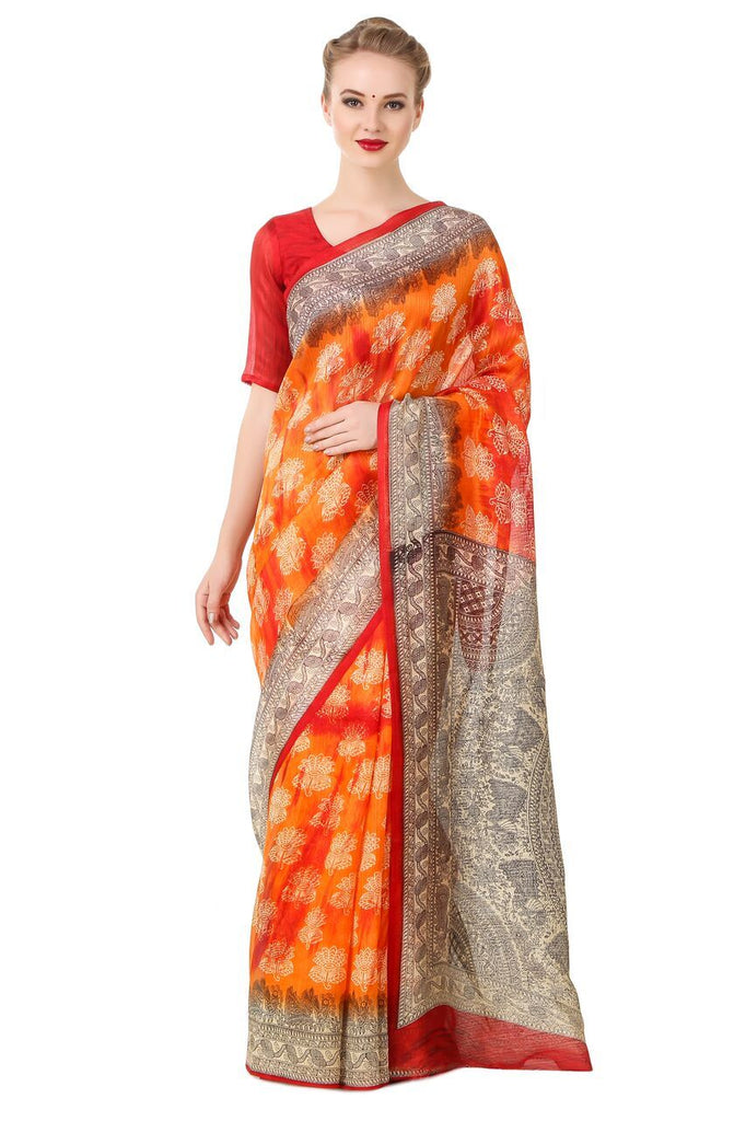 Orange Color Poly Cotton Printed Saree