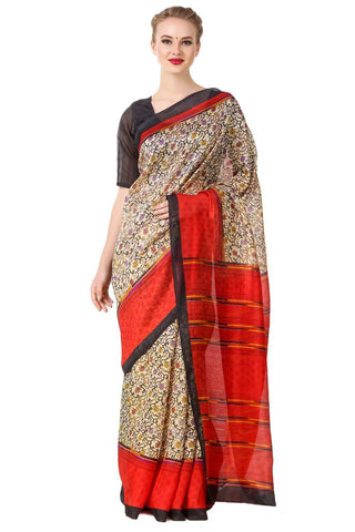 Multi Color Poly Cotton Printed Saree - BCS-30