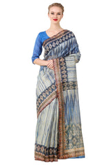SkyBlue Color Poly Cotton Printed Saree