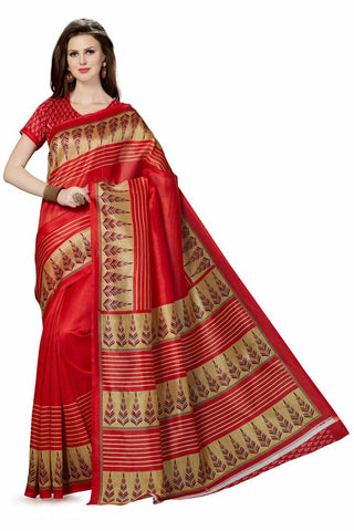 Red Color Poly Cotton Printed Saree - BCS-34
