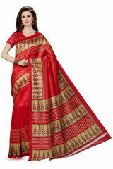 Red Color Poly Cotton Printed Saree