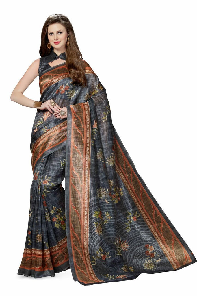 Black Color Poly Cotton Printed Saree