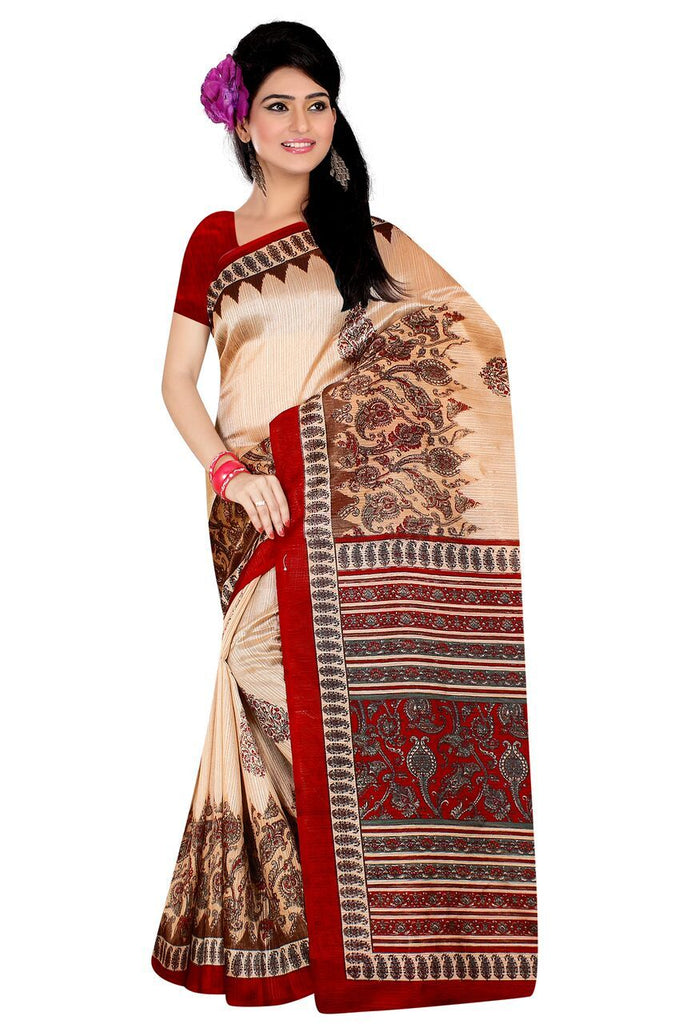 Cream and Red Color Poly Cotton Printed Saree