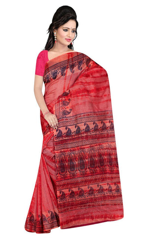 Red and Pink Color Poly Cotton Printed Saree - BCS-40