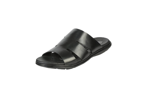 Black Color Synthetic Men's Slippers - BCS1037
