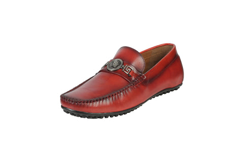 Red Color Leather Men's Loafers - BCS1038