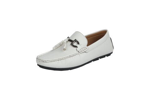 White Color Leather Men's Loafers - BCS1048
