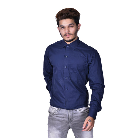 Navy Blue Color Cotton Men's Solid Shirt - BDBK175