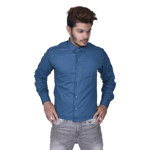 Teal Color Cotton Men's Solid Shirt - BDBK183