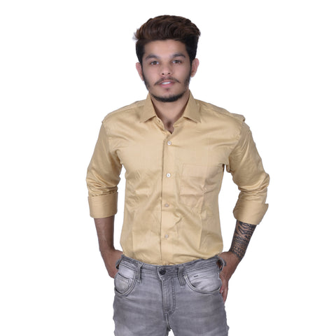 Cream Color Cotton Men's Solid Shirt - BDBK191
