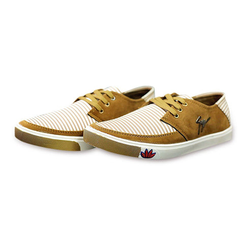 Beige Color Canvas Men Shoe - BEIGE-STRIPE