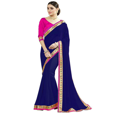 Navy Blue Color Lace Border  Faux georgette Saree - BF5093navy blue