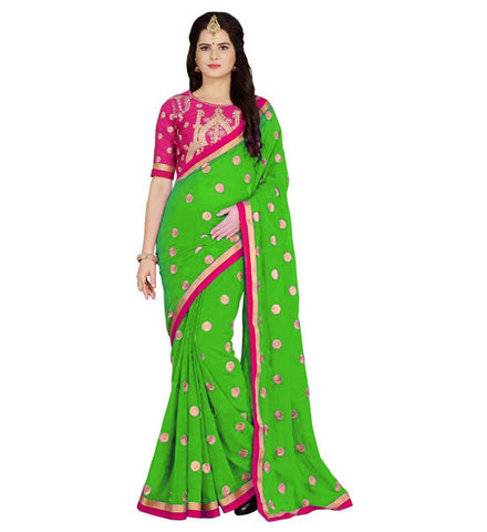 Green Color Embroidered Faux georgette Saree - BF5151GREEN