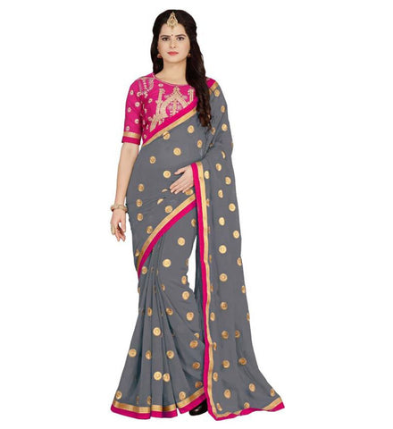 Grey Color Embroidered Faux georgette Saree - BF5151GREy
