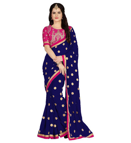 Navy Blue Color Embroidered Faux georgette Saree - BF5151NAVYBLUE
