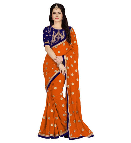 Orange Color Embroidered Faux georgette Saree - BF5151ORANGE