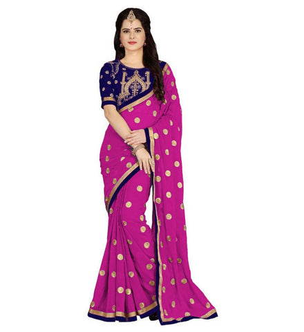 Pink Color Embroidered Faux georgette Saree - BF5151pink