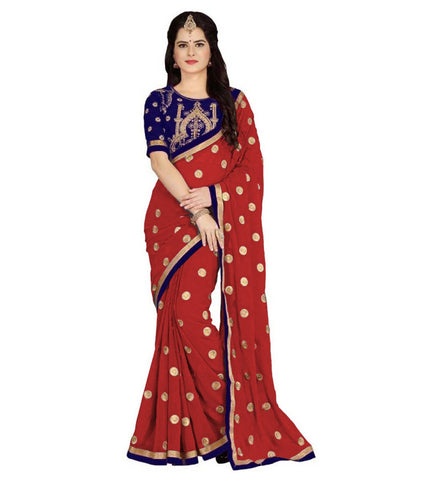 Red Color Embroidered Faux georgette Saree - BF5151red