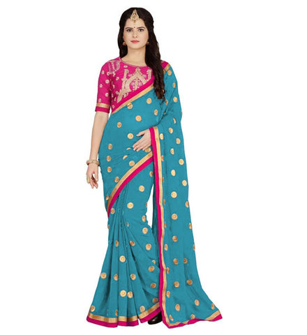 Sky Color Embroidered Faux georgette Saree - BF5151sky