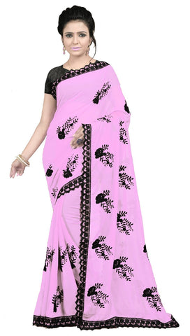 Baby Pink Color Embroidered Faux georgette Saree - BF5237Babypink