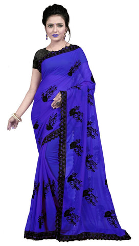 Blue Color Embroidered Faux georgette Saree - BF5237Blue