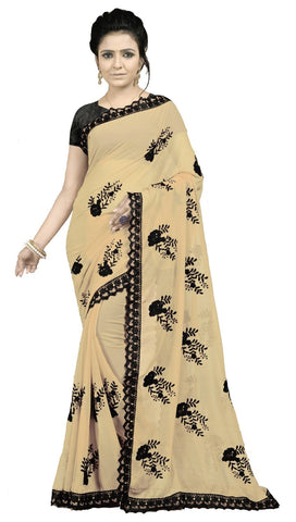 Beige Color Embroidered Faux georgette Saree - BF5237Chiku