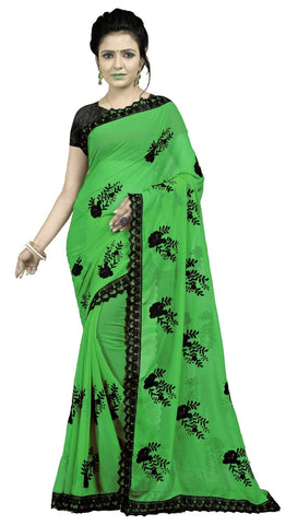 Green Color Embroidered Faux georgette Saree - BF5237Green