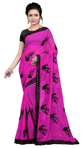 Pink Color Embroidered Faux georgette Saree - BF5237Pink