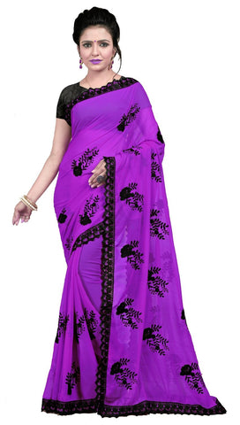 Purple Color Embroidered Faux georgette Saree - BF5237Purple