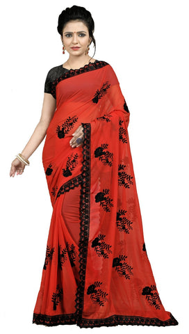 Red Color Embroidered Faux georgette Saree - BF5237Red