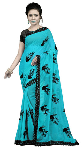 Sky Color Embroidered Faux georgette Saree - BF5237Sky