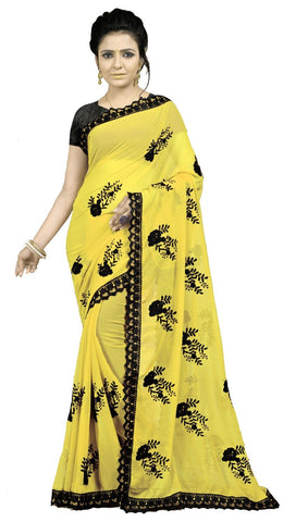 Yellow Color Embroidered Faux georgette Saree - BF5237Yellow