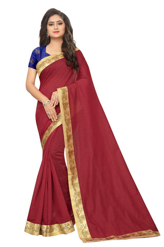 Red Color Lace Border  Chanderi Cotton Saree - BF5243