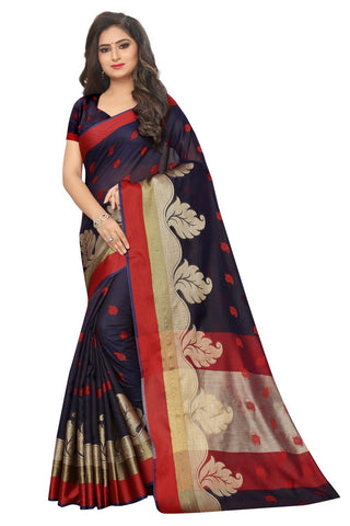 Navy Blue Color Embellished  Cotton Jacquard Saree - BF5249_Navy
